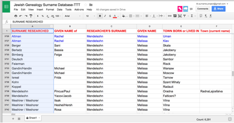 sorting a spreadsheet instructions jewish genealogy surname project